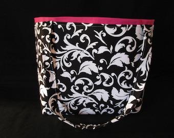 black and white abstract print Handbag
