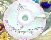 Candlestick pink earthenware 19th century Shabby Chic N2