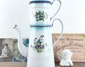 Double coffee maker in enamelled sheet, vintage French kitchen décor