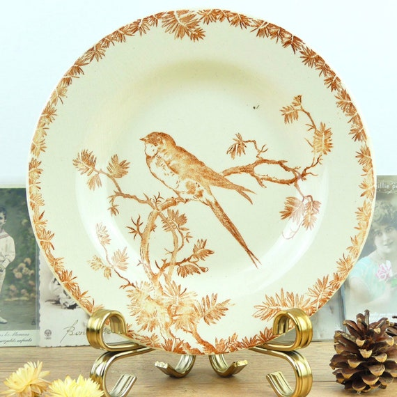 old country plate flowers and bird OG2 Hollow plate Gien 19th century bird decor