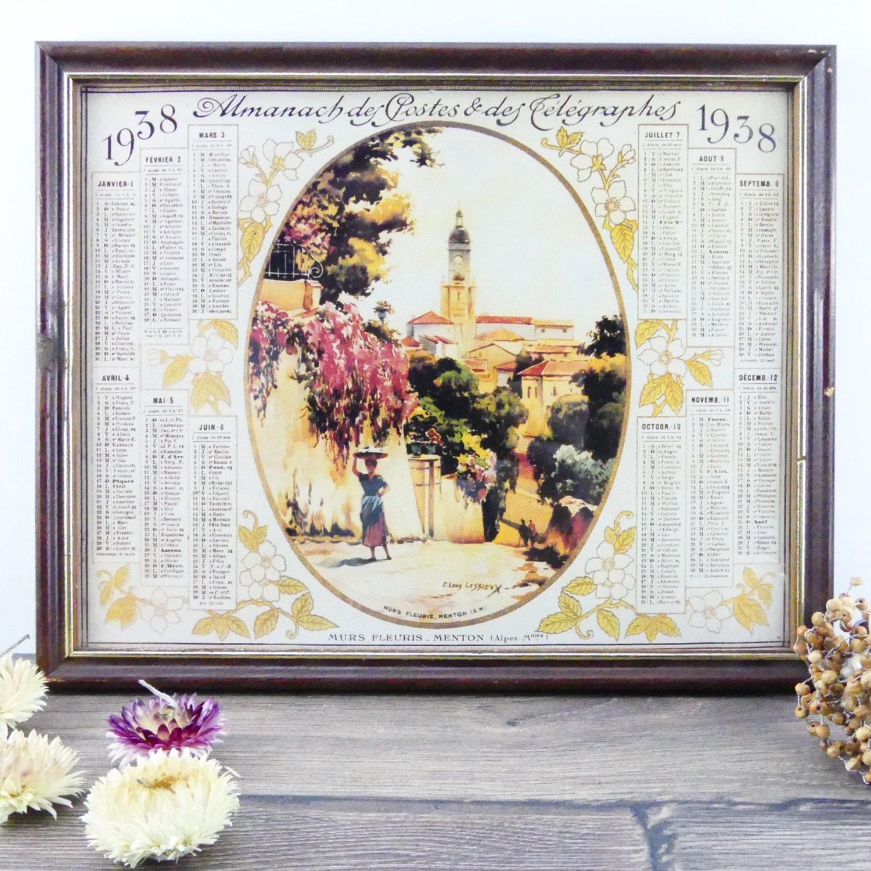 Frame french Almanac of 1938 framed post - french calendar - Ernest ...