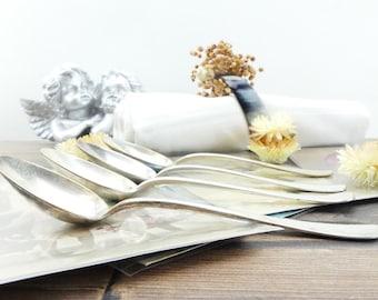Vintage spoons - silver - spoons coffee spoons - French - old spoons - teaspoons dessert spoons