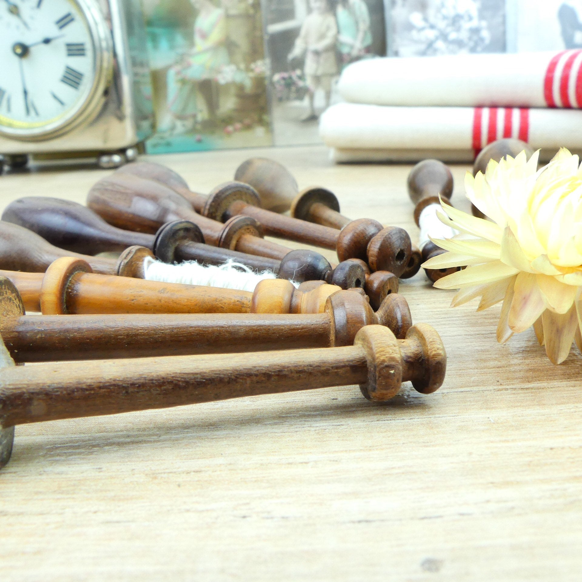 Set of Vintage French Wood Bobbins Lace Making Spools Wooden