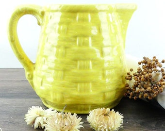 Vintage french pitcher - Antique jug - French Wicker Porcelain Jug - Yellow Basket Weave Majolica Pitcher - French farmhouse - Country