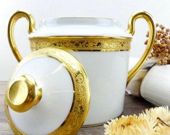 Sugar Bowl - Sugar Pot - Limoges Pot - Luxurious Limoges - Parisan Palace - French limoges - Large Sugar pot - White and Gold - French Chic