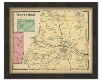 24x36 Vintage Reproduction Historic Map Springfield Massachusetts 1875