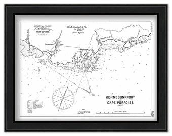 9.5x30 Kennebunk River Map Home Decor Art Print on Real Wood