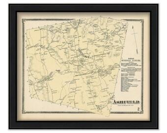 Ashfield Massachusetts 1871 Map original from Beers Atlas in good shape B25 OMH
