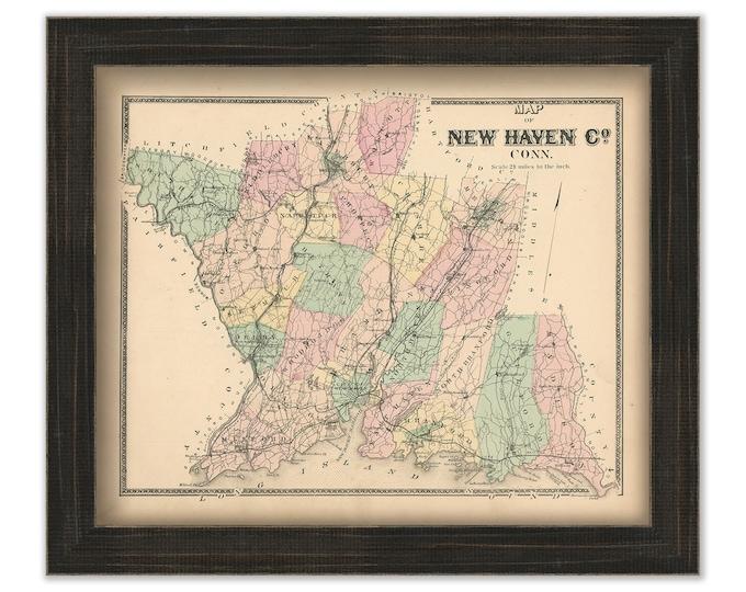 NEW HAVEN COUNTY, Connecticut, 1868 Map, Replica or Genuine Original