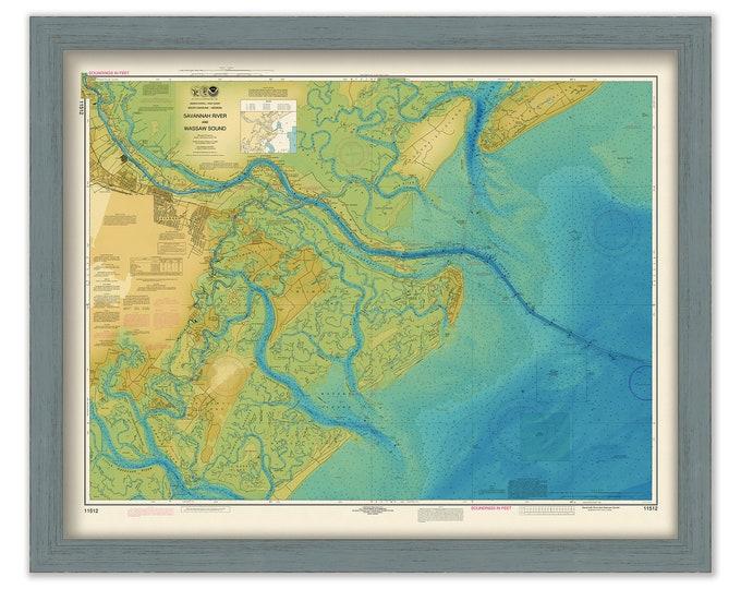 SAVANNAH RIVER, GEORGIA - 2015 Bathymetry Nautical Chart