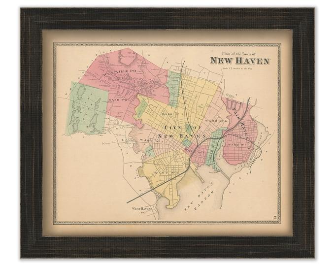 NEW HAVEN, Connecticut, 1868 Map, Replica or Genuine Original