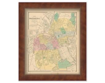 PROVIDENCE, Rhode Island 1870 Map