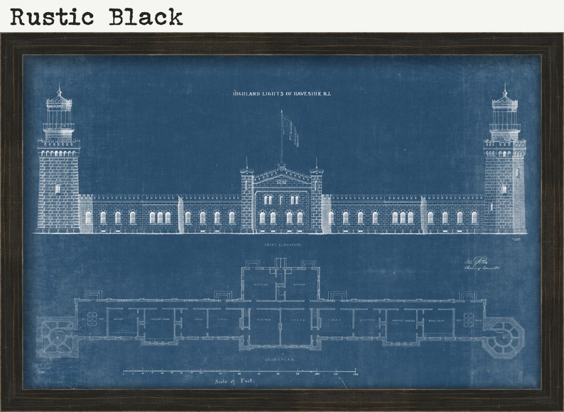 NAVESINK TWIN LIGHTS Middletown Blueprint Drawing and Plans of the Lighthouses as it was in 1861. New Jersey