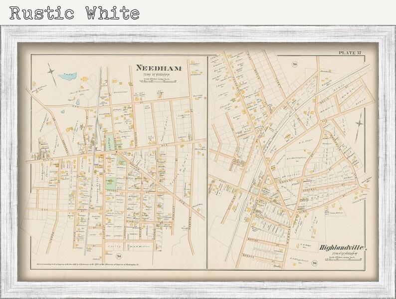 Village of NEEDHAM Massachusetts 1888 Map