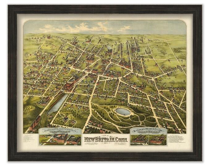 NEW BRITAIN, Connecticut, Bird's Eye View Map - 1875