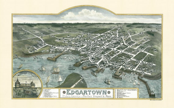 20x28 Bird/'s Eye View 1904 Larchmont New York Vintage City Map