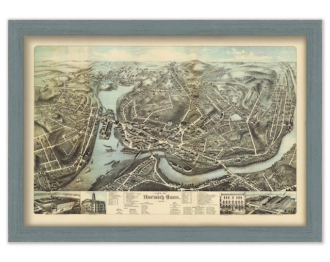 NORWICH, Connecticut, Bird's Eye View Map - 1876