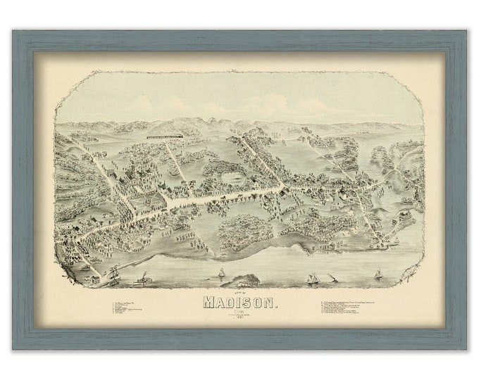 MADISON, Connecticut, Bird's Eye View Map - 1881