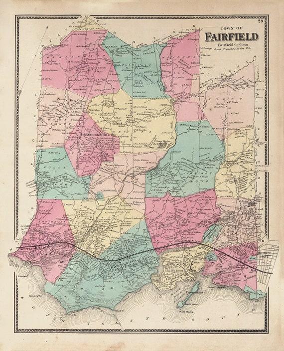 FAIRFIELD, Connecticut Map 1867