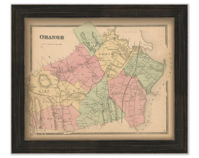 ORANGE, Connecticut, 1868 Map, Replica or Genuine Original