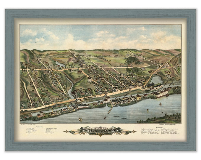 WINSOR LOCKS, Connecticut, Bird's Eye View Map - 1877