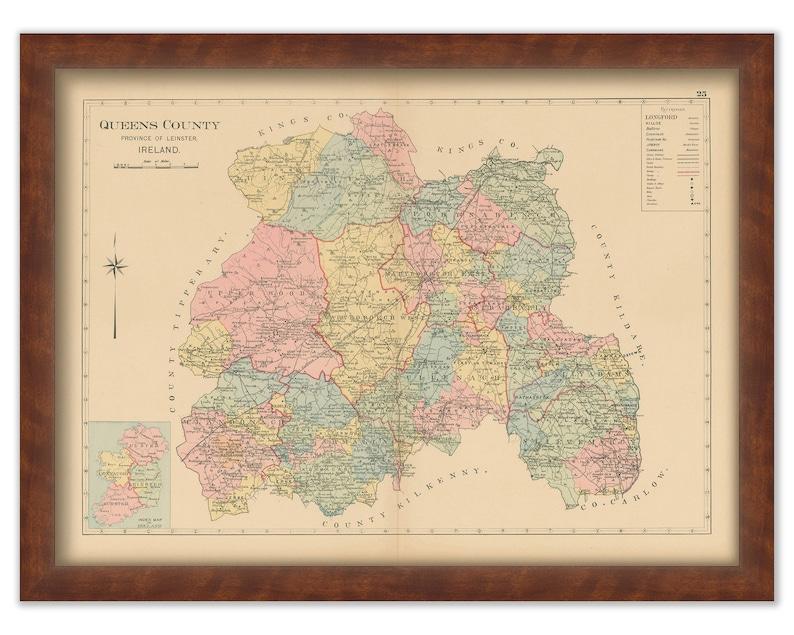 32 County Map Of Ireland.Queens County Ireland 1901 0032