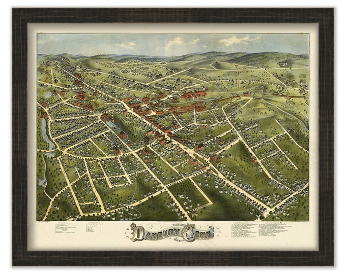 DANBURY, Connecticut, Bird's Eye View Map - 1875