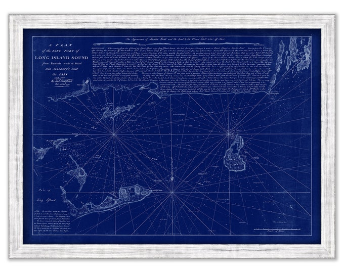 LONG ISLAND SOUND - Eastern Part 1777 Nautical Chart Blueprint including Fisher Island, Montauk, Gardner's Island, Newport and Block Island