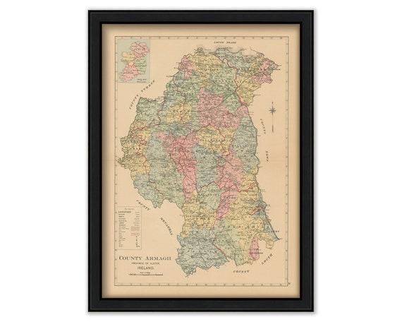 County Armagh Ireland Map.County Armagh Ireland 1901 0002 Etsy