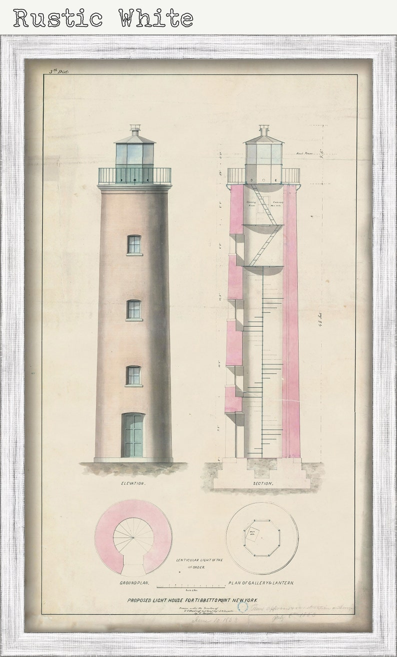 Lake Ontario Drawing and Plans of the Lighthouse as it was in 1853. TIBBETTS POINT LIGHTHOUSE New York