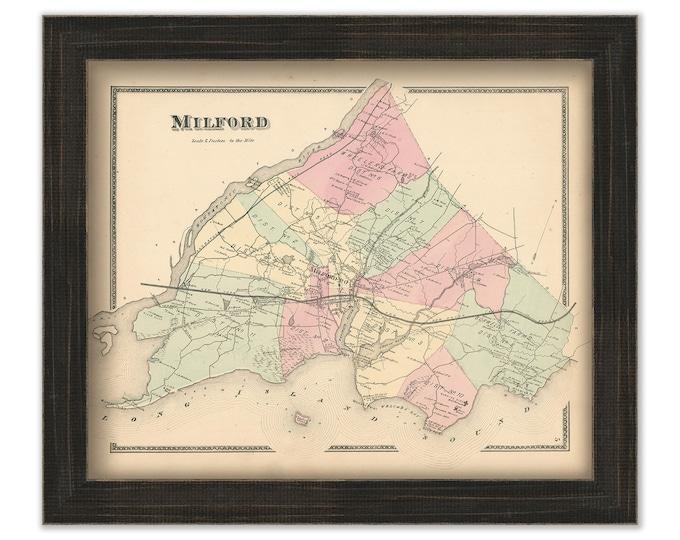 MILFORD, Connecticut, 1868 Map, Replica or Genuine Original