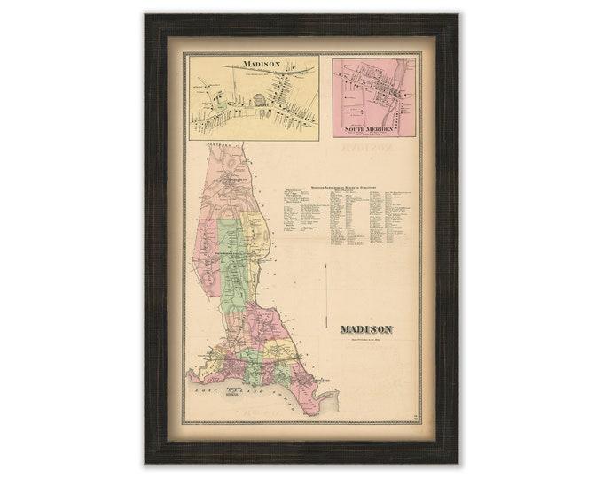 MADISON, Connecticut, 1868 Map, Replica or Genuine Original