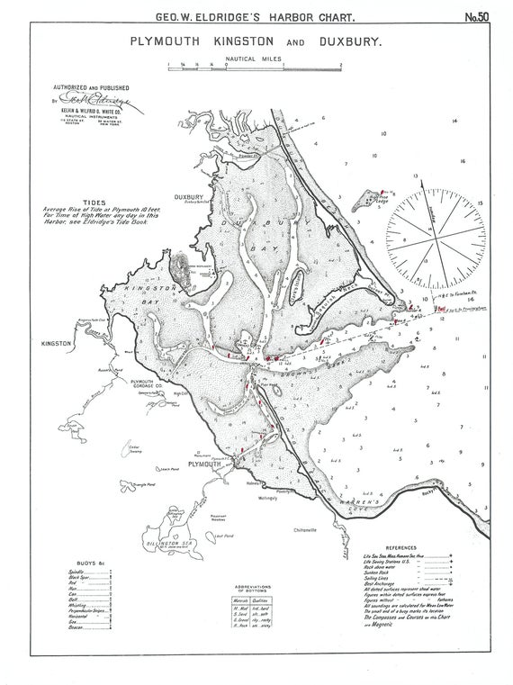 0449 Plymouth Kingston And Duxbury 1901 Nautical Chart By Etsy