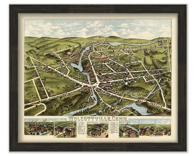 WOLCOTTVILLE, Connecticut, Bird's Eye View Map - 1875