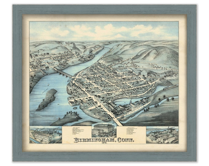 BIRMINGHAM, Connecticut, Bird's Eye View Map - 1876