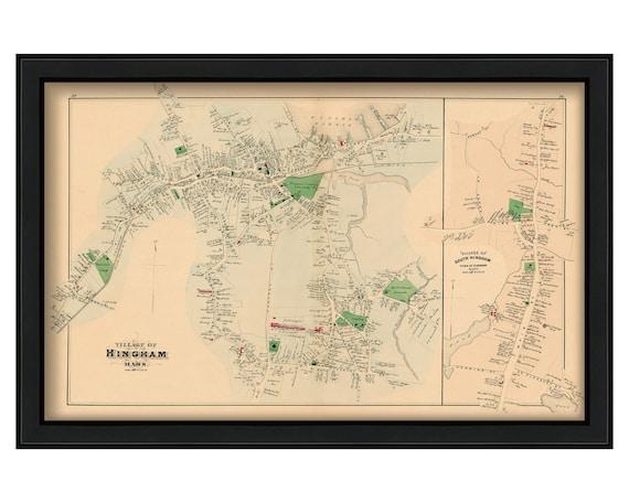 Hingham Village Massachusetts 1879 Map Colored Reproduction Etsy