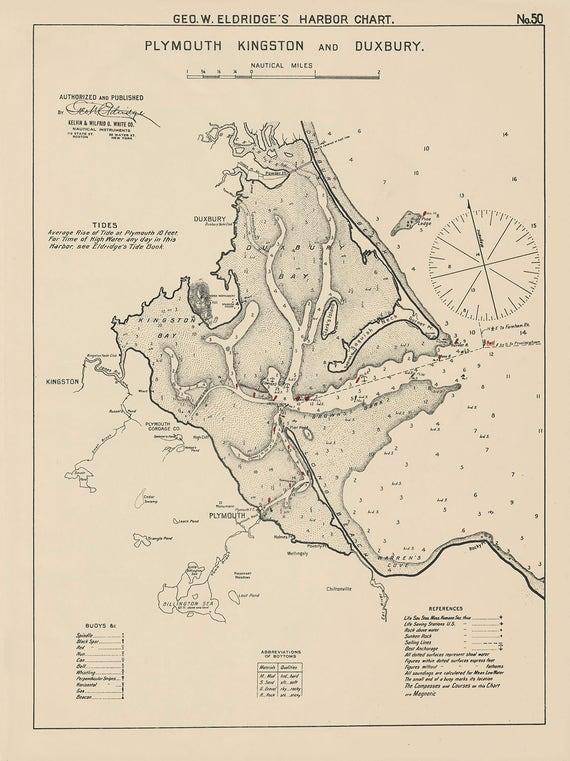 Plymouth Kingston And Duxbury 1901 Nautical Chart By Geo Etsy