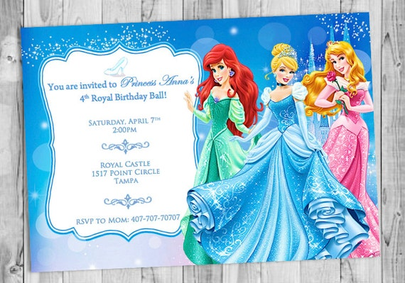 Invitation Anniversaire Princesse Disney Etsy