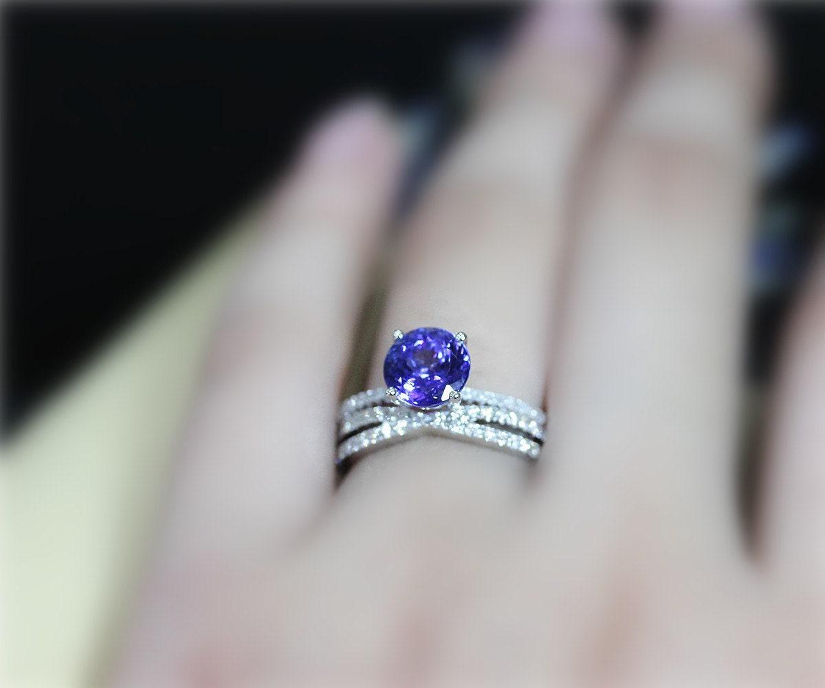 d03cd7edf Genuine Tanzanite Ring Set VS Tanzanite Engagement Ring Set | Etsy