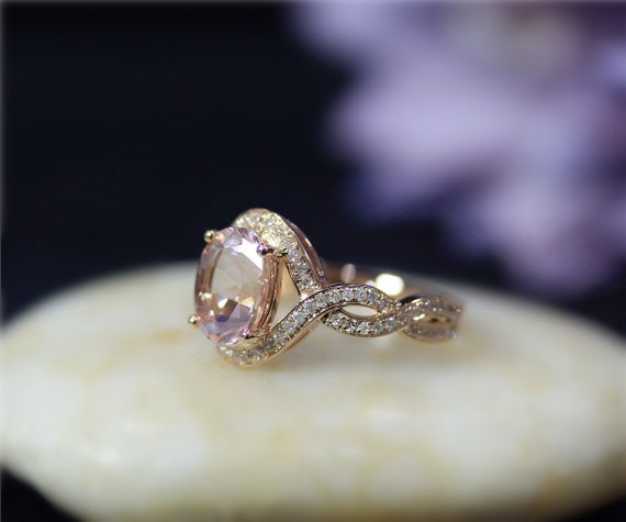 60df187553af7 VS 8x10mm Oval Natural Pink Morganite Ring Solid 14K Rose Gold Ring Diamond  Wedding Ring Promise Ring Anniversary Ring Engagement Ring