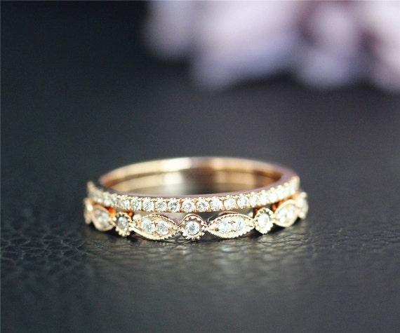 ... dcca0 a394d Half Eternity Real Diamonds Wedding Ring Set Solid 14K Gold  best sell ... 1e98b1d26