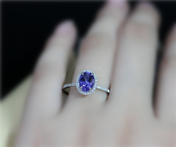 Oval Dark Blue Gem Real Tanzanite Engagement Ring 6x8mm Etsy