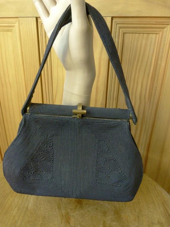 True Vintage 1930's Black Corde Handbag