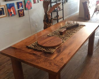 Beautiful Mesquite Farm Style Dining Table. Solid hardwood mesquite!