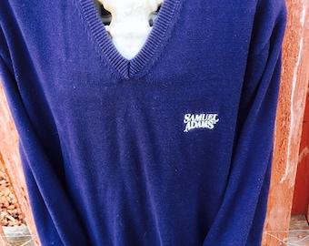 Vintage 90s Sam Adams Beer Vneck Sweater Size Large