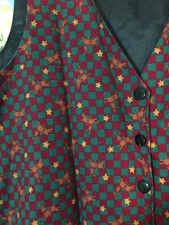 Vintage Rudolph Christmas Vest Size Large