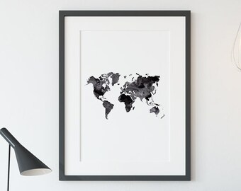 Monochrome world map etsy world map printable watercolor world map monochrome art black and white print printable map monochrome world print digital download gumiabroncs Gallery