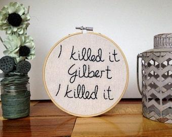 Johnny Depp Hoop Art, Canvas wall decor, embroidered art- Gilbert Grape