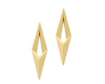 High End Jewelry, Real Gold Earrings, Solid Gold Triangle Earrings, 14k Gold Spike Earring, 14k Gold Arrow Earring, Solid Gold Stud Earrings