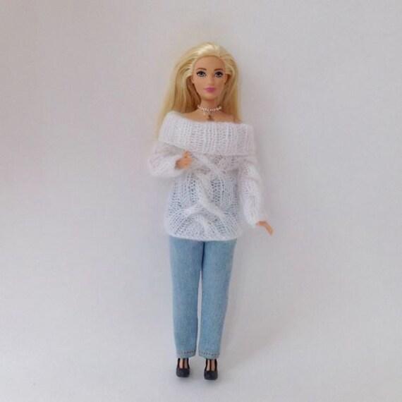 Kabel Pullover weiß Mohair für kurvige Barbie gestrickte   Etsy
